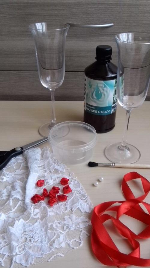 Как украсить бокалы на свадьбу пошагово