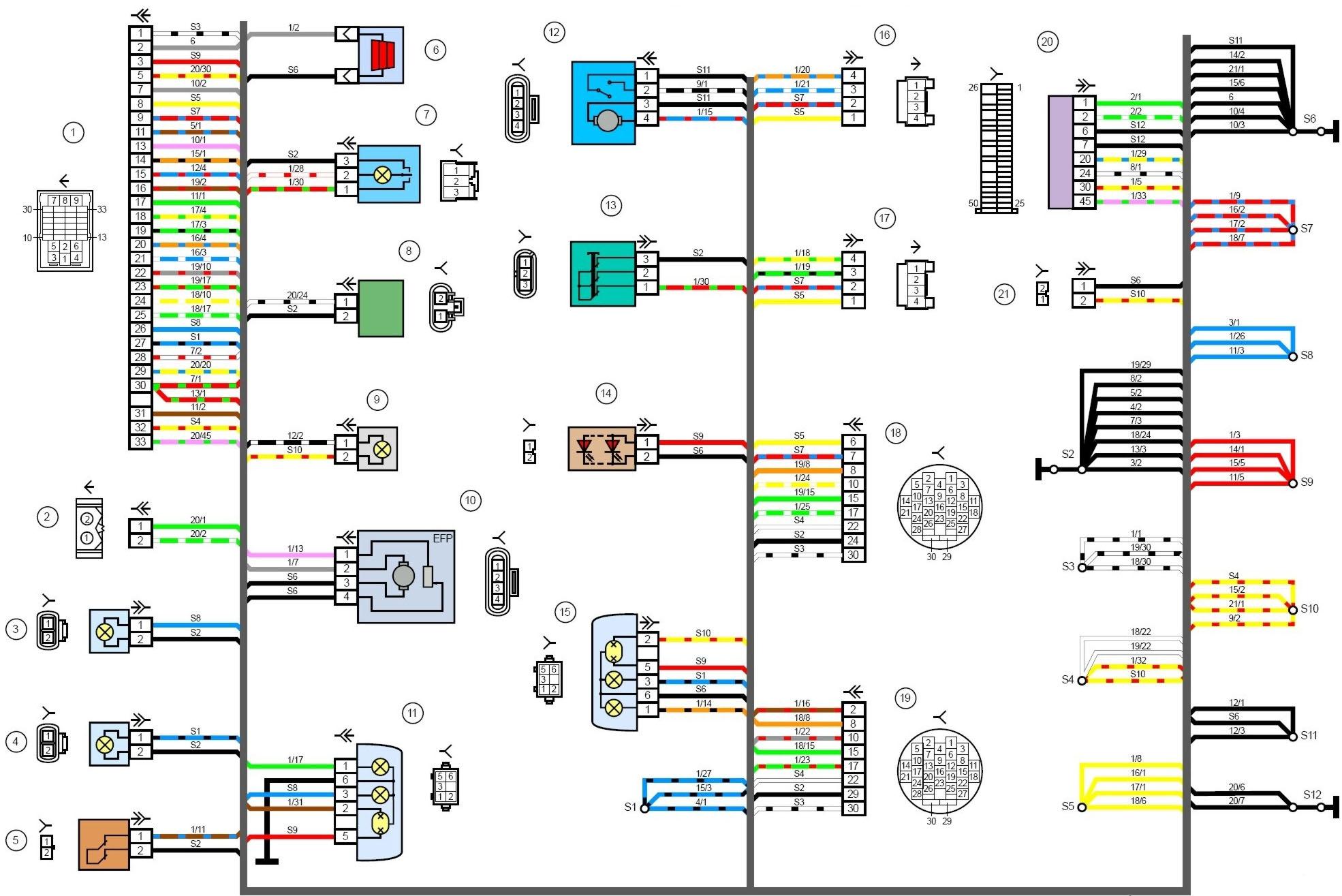 Обозначения на схеме электропроводки автомобиля